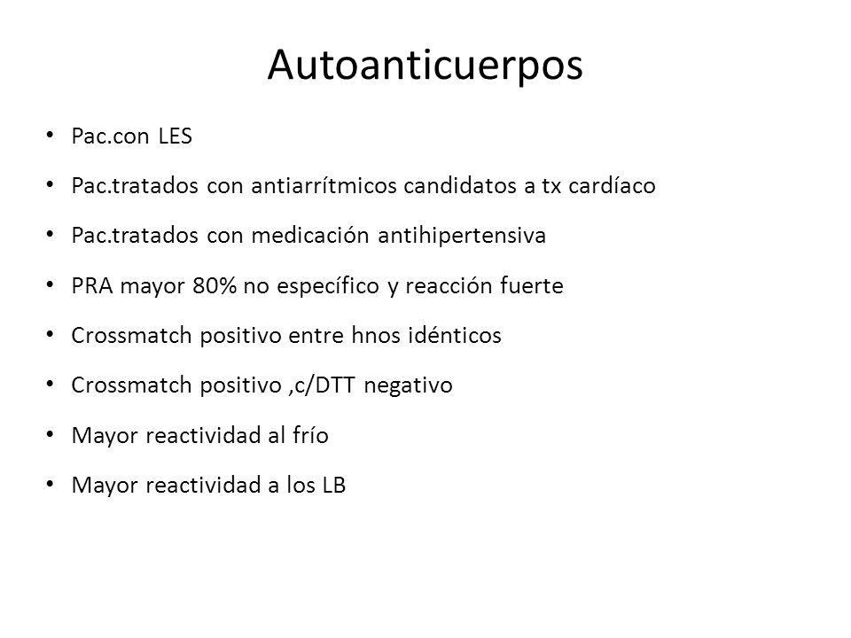 Autoanticuerpos Pac.con LES Pac.tratados con antiarrítmicos candidatos a tx cardíaco Pac.tratados con medicación antihipertensiva PRA mayor 80% no esp