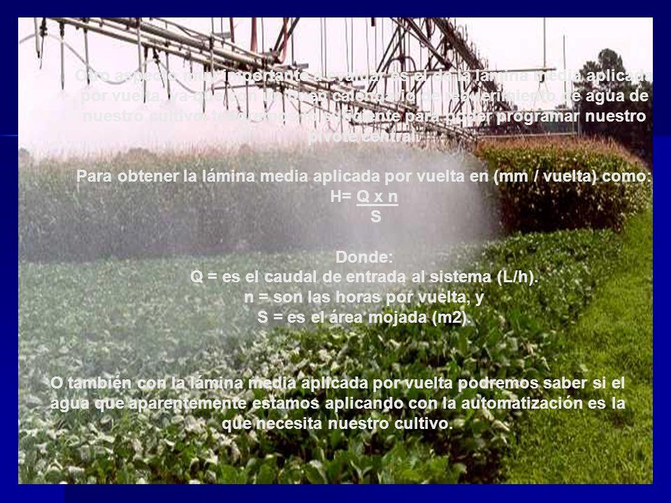 Otro aspecto muy importante a evaluar es el de la lámina media aplicada por vuelta, ya que con un buen calendario de requerimiento de agua de nuestro cultivo, tendremos lo suficiente para poder programar nuestro pivote central.