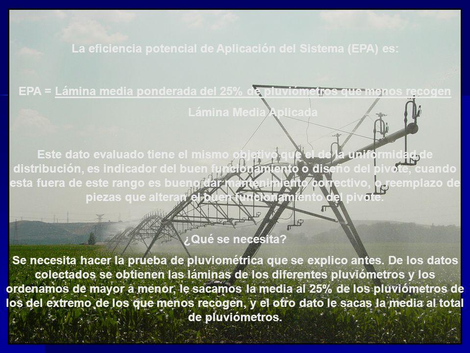 La eficiencia potencial de Aplicación del Sistema (EPA) es: EPA = Lámina media ponderada del 25% de pluviómetros que menos recogen Lámina Media Aplica