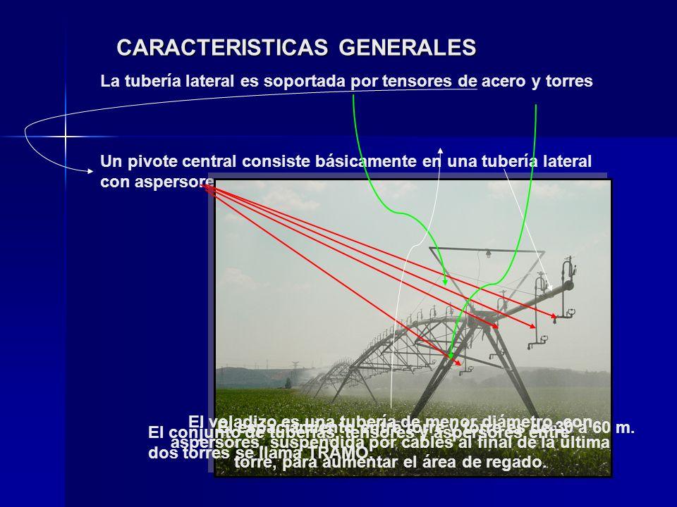 CARACTERISTICAS GENERALES Un pivote central consiste básicamente en una tubería lateral con aspersores… La tubería lateral es soportada por tensores d