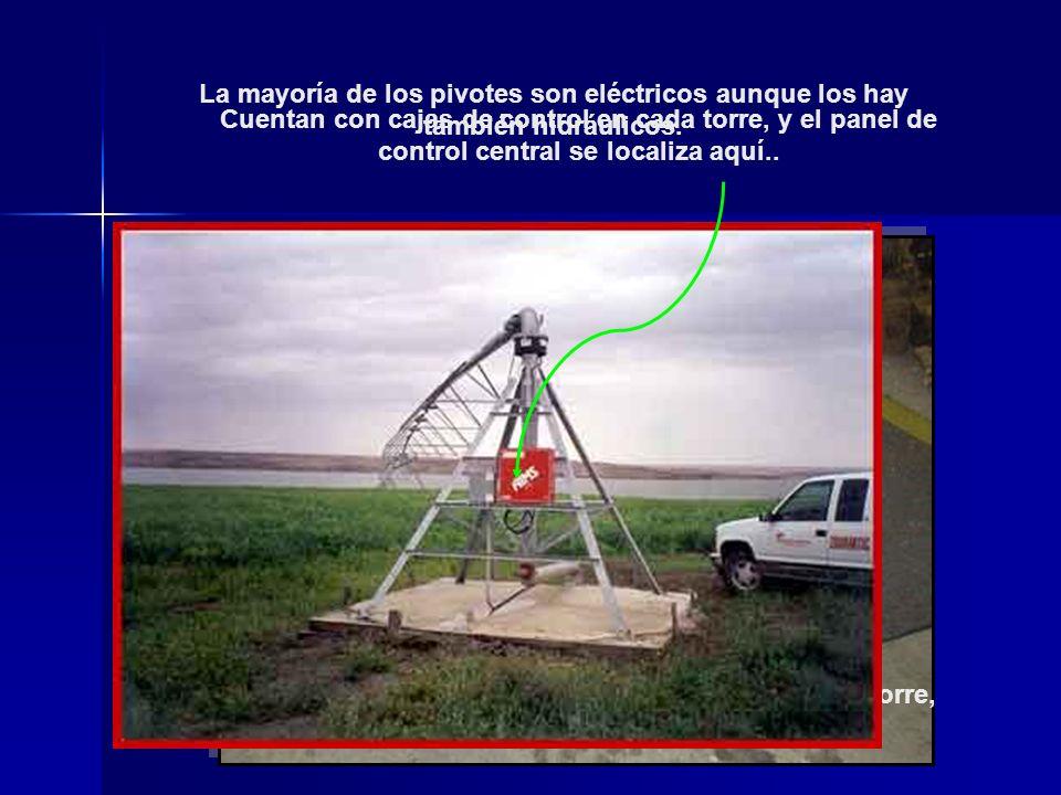 La mayoría de los pivotes son eléctricos aunque los hay también hidráulicos. Un motor eléctrico alrededor de 1 HP localizado en cada torre, dan el mov