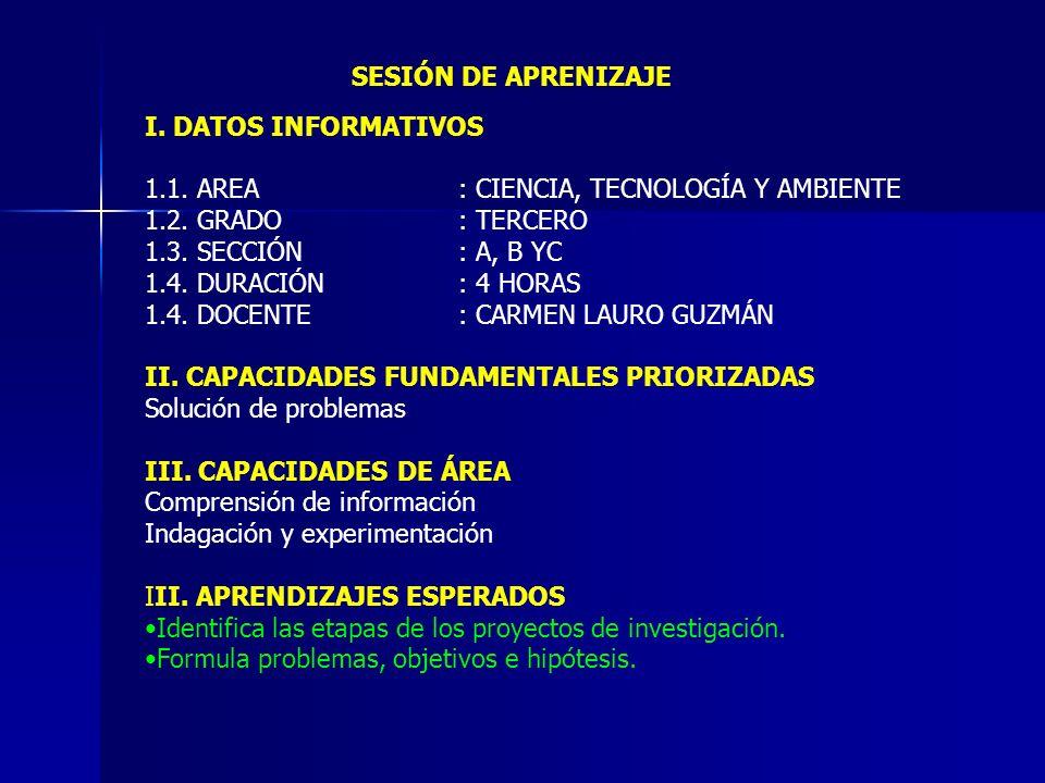 I. DATOS INFORMATIVOS 1.1. AREA: CIENCIA, TECNOLOGÍA Y AMBIENTE 1.2. GRADO: TERCERO 1.3. SECCIÓN: A, B YC 1.4. DURACIÓN: 4 HORAS 1.4. DOCENTE: CARMEN