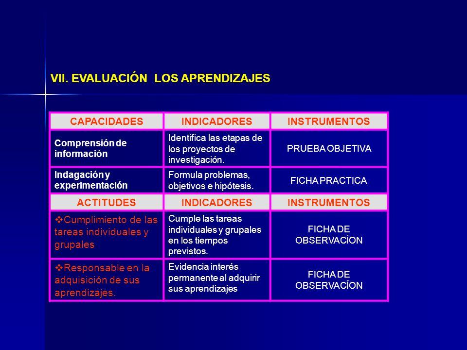 VII. EVALUACIÓN LOS APRENDIZAJES CAPACIDADESINDICADORESINSTRUMENTOS Comprensión de información Identifica las etapas de los proyectos de investigación