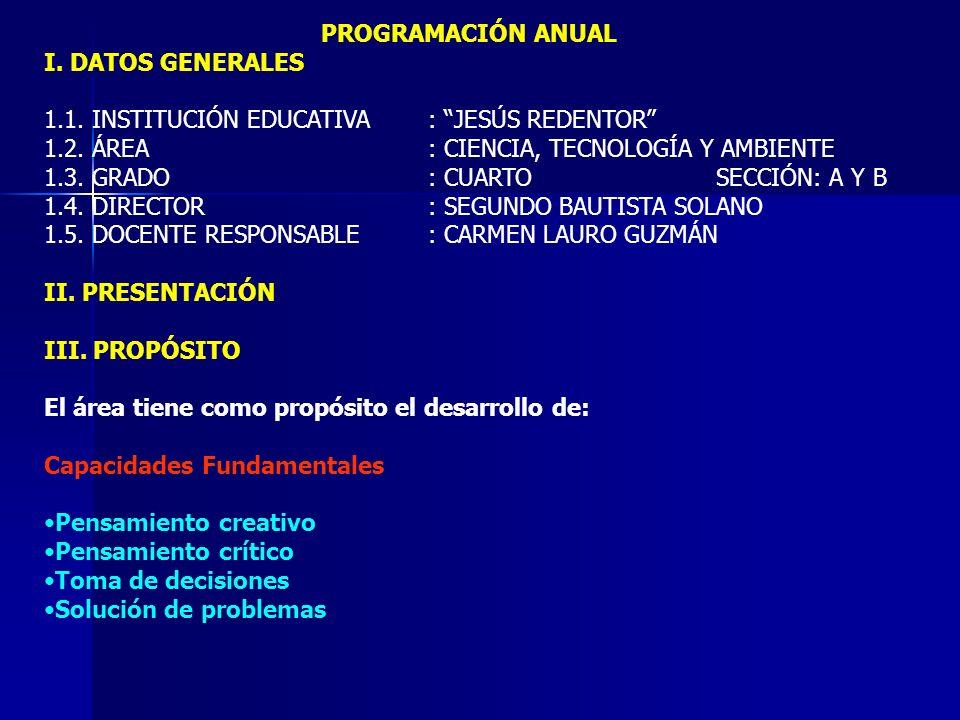 Capacidades del área Comprensión de información Indagación y experimentación Juicio crítico IV.