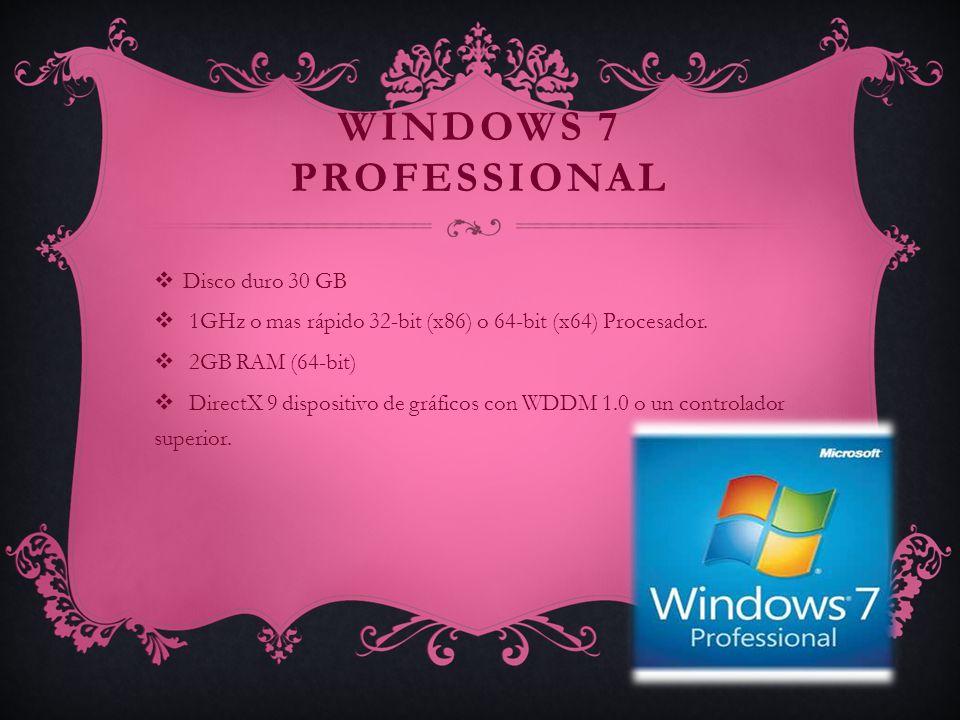 WINDOWS 7 ULTIMATE Disco duro de 20 GB (64-bit) 64-bit (x64) Procesador.