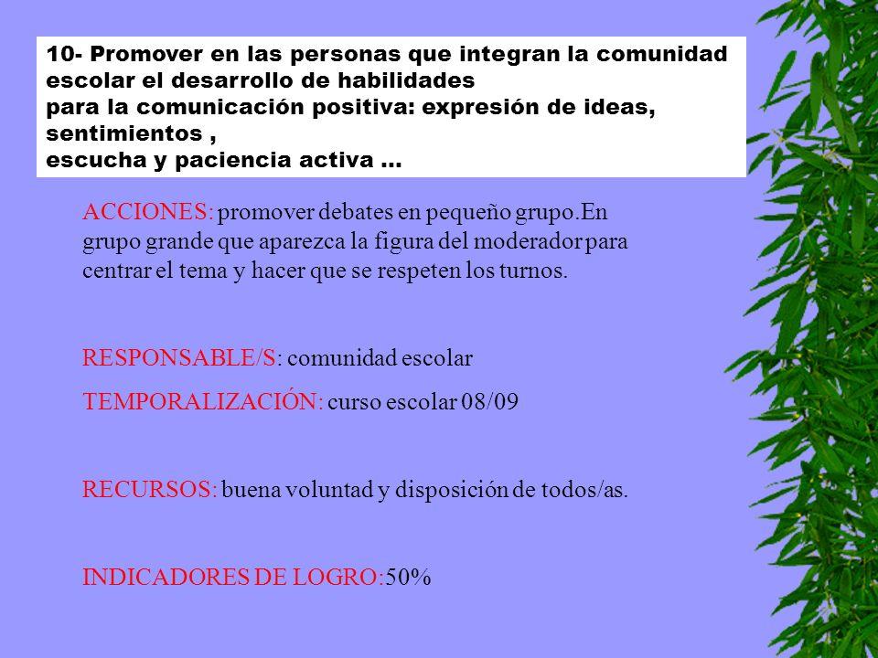 10- Promover en las personas que integran la comunidad escolar el desarrollo de habilidades para la comunicación positiva: expresión de ideas, sentimi