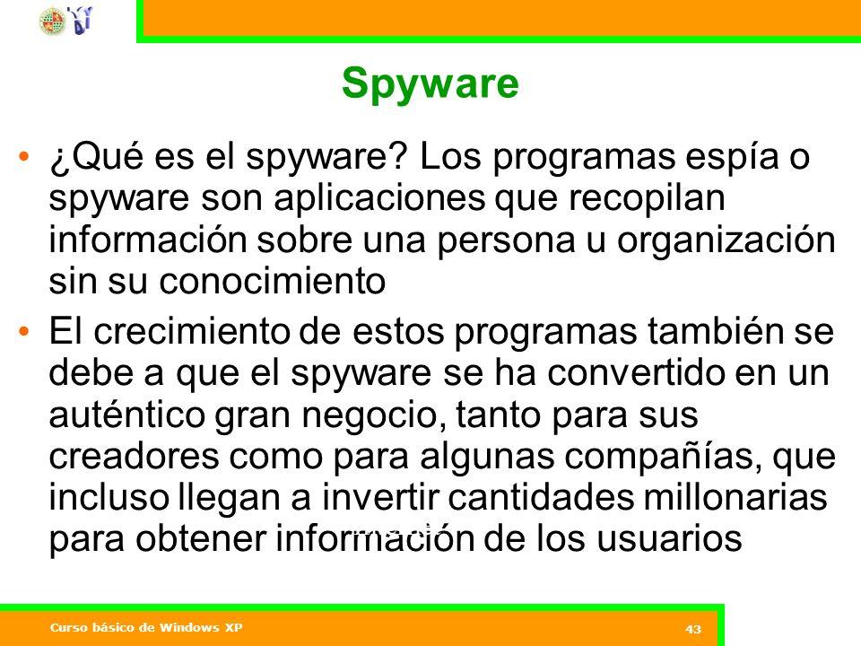 Curso básico de Windows XP 43 Spyware ¿Qué es el spyware.