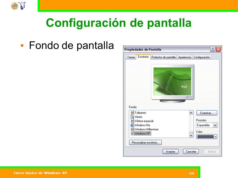 Curso básico de Windows XP 54 Configuración de pantalla Fondo de pantalla
