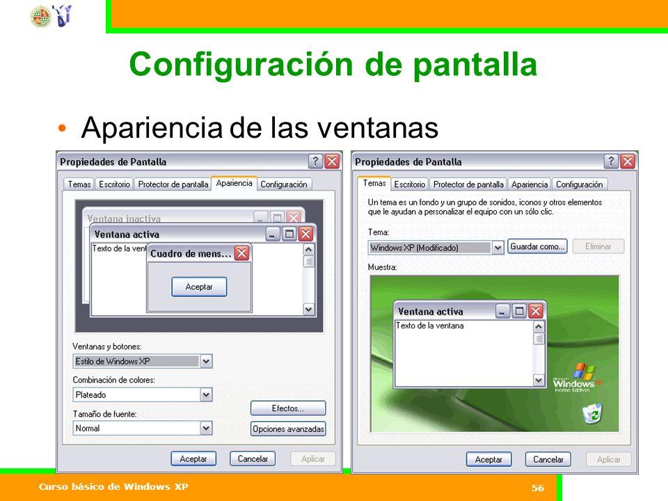 Curso básico de Windows XP 56 Configuración de pantalla Apariencia de las ventanas