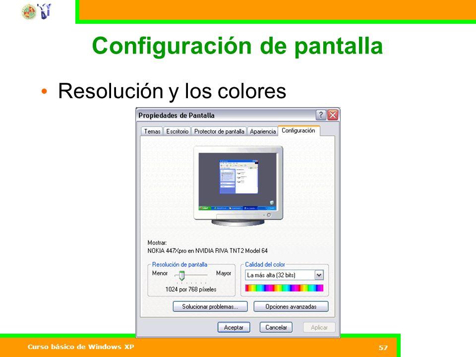 Curso básico de Windows XP 57 Configuración de pantalla Resolución y los colores