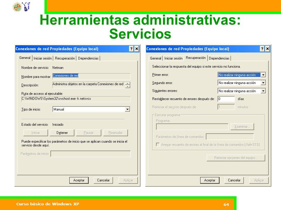 Curso básico de Windows XP 64 Herramientas administrativas: Servicios