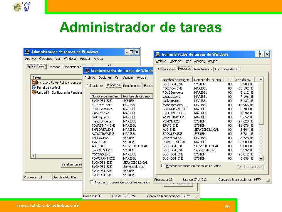 Curso básico de Windows XP 70 Administrador de tareas