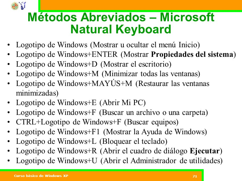 Curso básico de Windows XP 71 Métodos Abreviados – Microsoft Natural Keyboard Logotipo de Windows (Mostrar u ocultar el menú Inicio) Logotipo de Windo