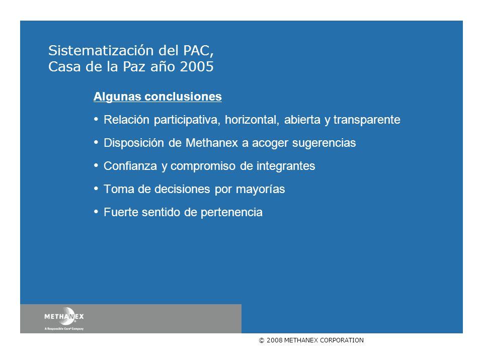 © 2008 METHANEX CORPORATION Algunas conclusiones Relación participativa, horizontal, abierta y transparente Disposición de Methanex a acoger sugerenci