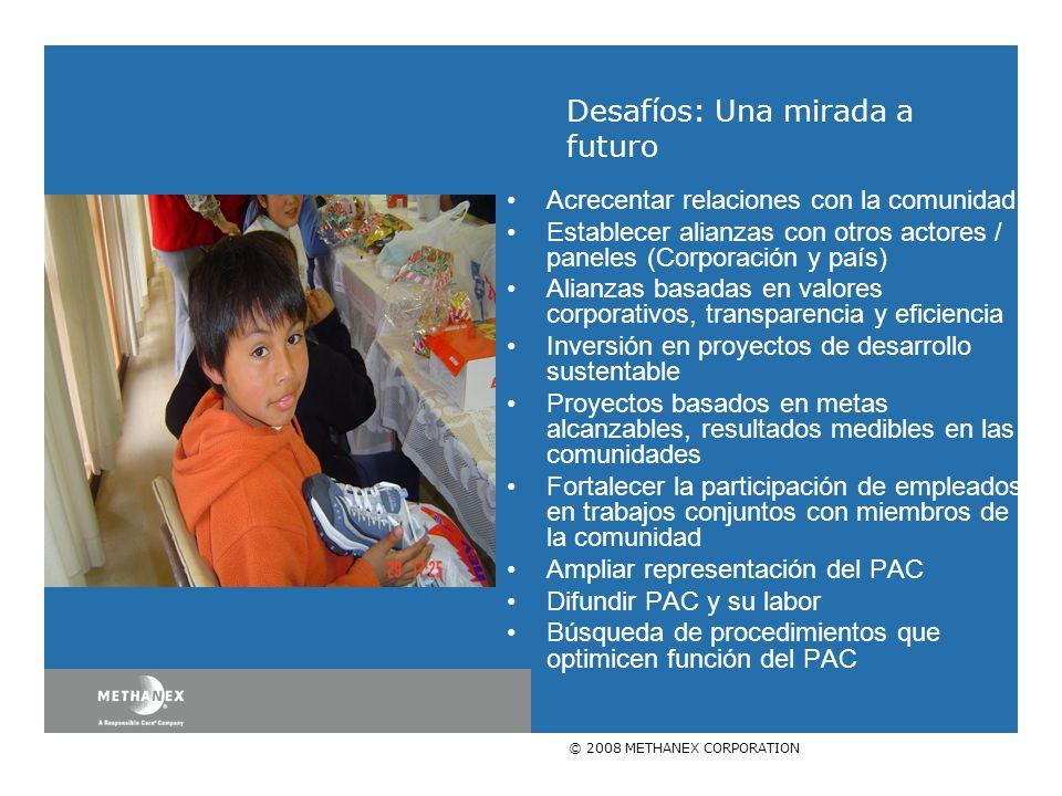 © 2008 METHANEX CORPORATION Acrecentar relaciones con la comunidad Establecer alianzas con otros actores / paneles (Corporación y país) Alianzas basad