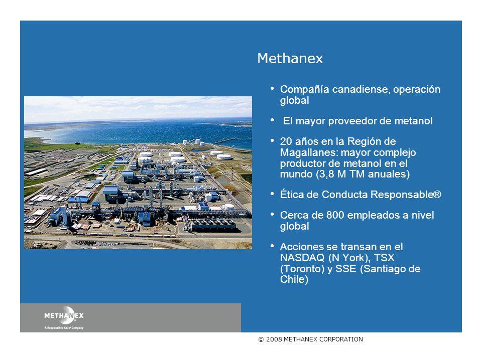 © 2008 METHANEX CORPORATION Compañía canadiense, operación global El mayor proveedor de metanol 20 años en la Región de Magallanes: mayor complejo productor de metanol en el mundo (3,8 M TM anuales) Ética de Conducta Responsable® Cerca de 800 empleados a nivel global Acciones se transan en el NASDAQ (N York), TSX (Toronto) y SSE (Santiago de Chile) Methanex