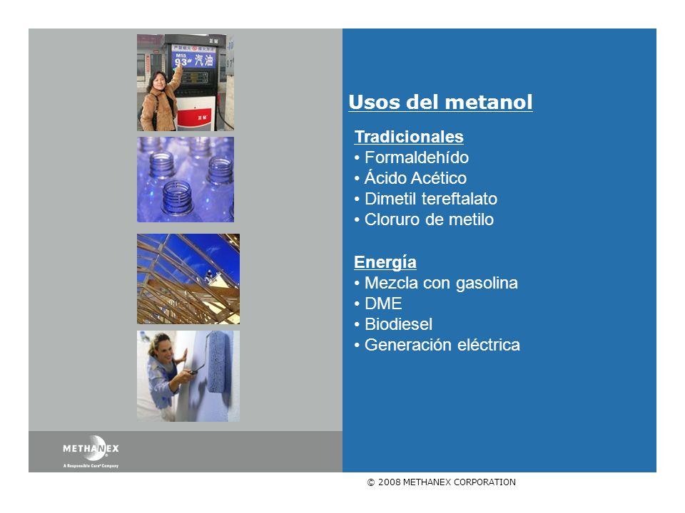 © 2008 METHANEX CORPORATION Usos del metanol Tradicionales Formaldehído Ácido Acético Dimetil tereftalato Cloruro de metilo Energía Mezcla con gasolina DME Biodiesel Generación eléctrica