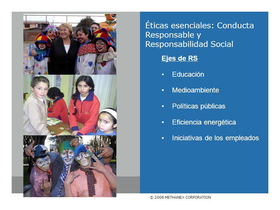 © 2008 METHANEX CORPORATION Éticas esenciales: Conducta Responsable y Responsabilidad Social Ejes de RS Educación Medioambiente Políticas públicas Eficiencia energética Iniciativas de los empleados