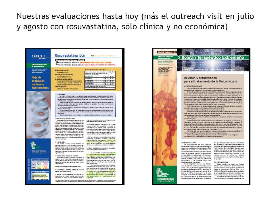 Nuestras evaluaciones hasta hoy (más el outreach visit en julio y agosto con rosuvastatina, sólo clínica y no económica)