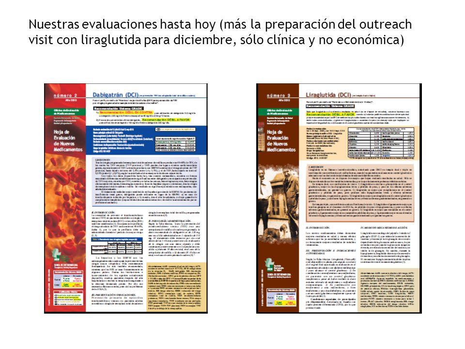 Nuestras evaluaciones hasta hoy (más la preparación del outreach visit con liraglutida para diciembre, sólo clínica y no económica)