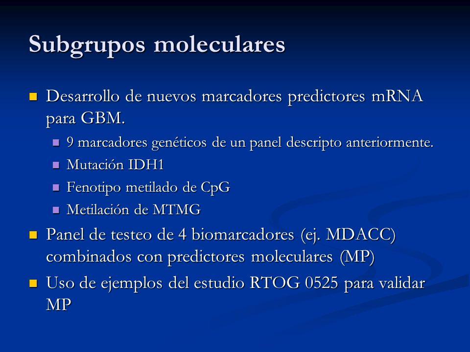 Subgrupos moleculares Desarrollo de nuevos marcadores predictores mRNA para GBM. Desarrollo de nuevos marcadores predictores mRNA para GBM. 9 marcador