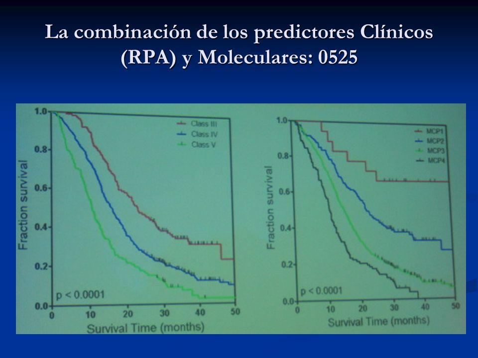 La combinación de los predictores Clínicos (RPA) y Moleculares: 0525