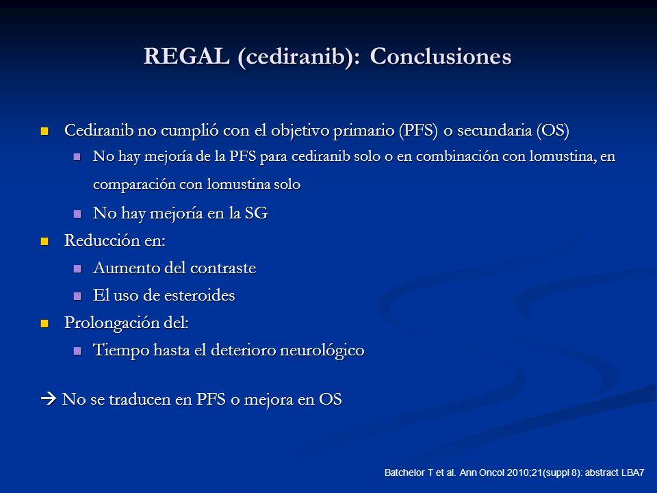 REGAL (cediranib): Conclusiones Cediranib no cumplió con el objetivo primario (PFS) o secundaria (OS) Cediranib no cumplió con el objetivo primario (P