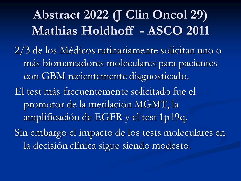 Abstract 2022 (J Clin Oncol 29) Mathias Holdhoff - ASCO 2011 2/3 de los Médicos rutinariamente solicitan uno o más biomarcadores moleculares para paci