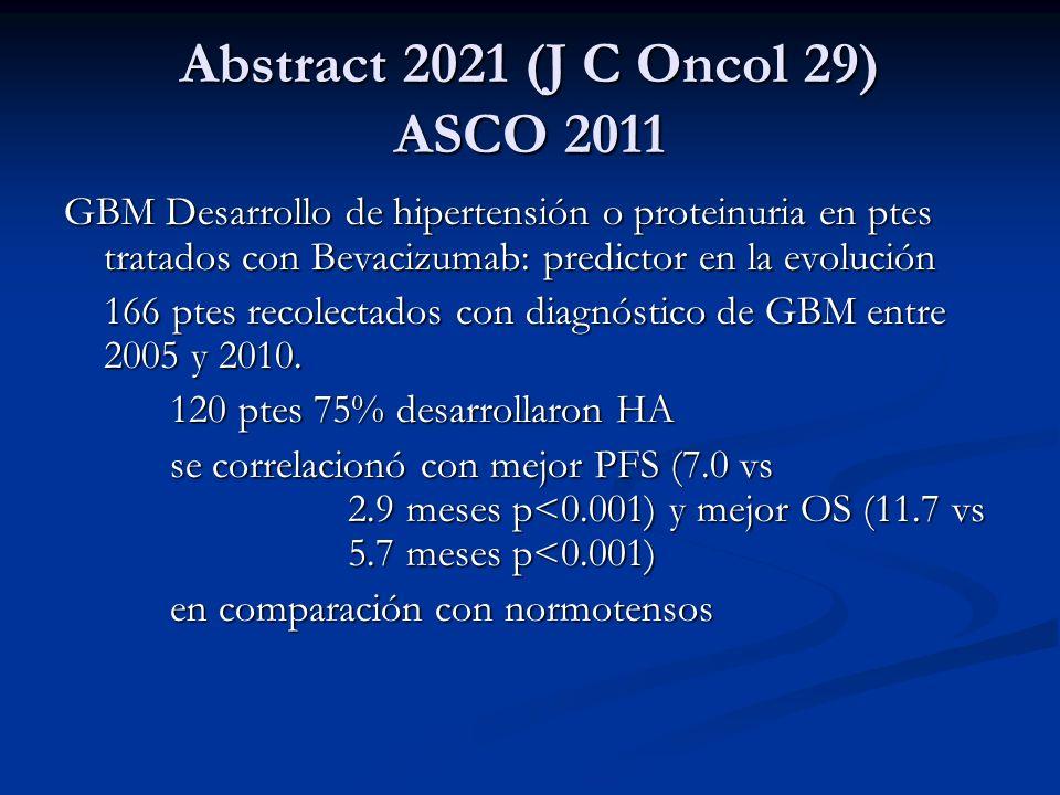 Abstract 2021 (J C Oncol 29) ASCO 2011 GBM Desarrollo de hipertensión o proteinuria en ptes tratados con Bevacizumab: predictor en la evolución 166 pt