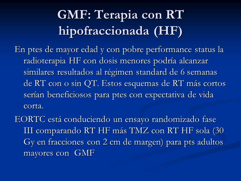 GMF: Terapia con RT hipofraccionada (HF) En ptes de mayor edad y con pobre performance status la radioterapia HF con dosis menores podría alcanzar sim