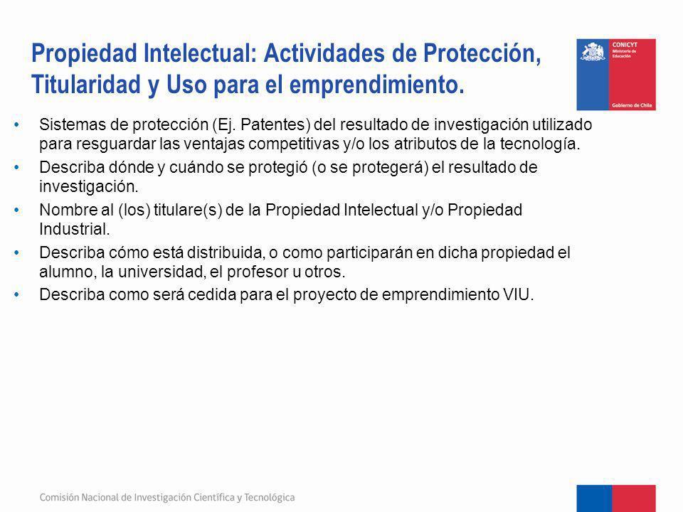 Sistemas de protección (Ej. Patentes) del resultado de investigación utilizado para resguardar las ventajas competitivas y/o los atributos de la tecno