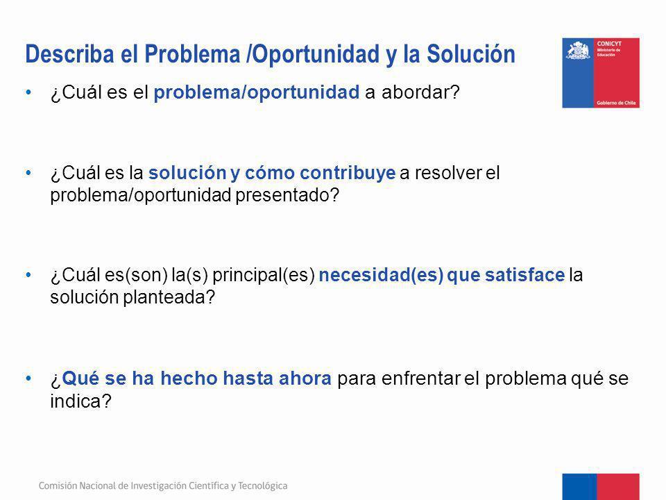 ¿Cuál es el problema/oportunidad a abordar? ¿Cuál es la solución y cómo contribuye a resolver el problema/oportunidad presentado? ¿Cuál es(son) la(s)