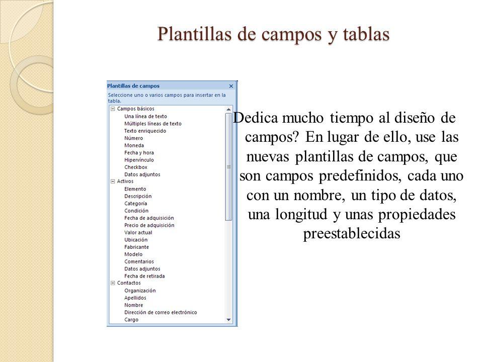 Plantillas de campos y tablas Dedica mucho tiempo al diseño de campos? En lugar de ello, use las nuevas plantillas de campos, que son campos predefini