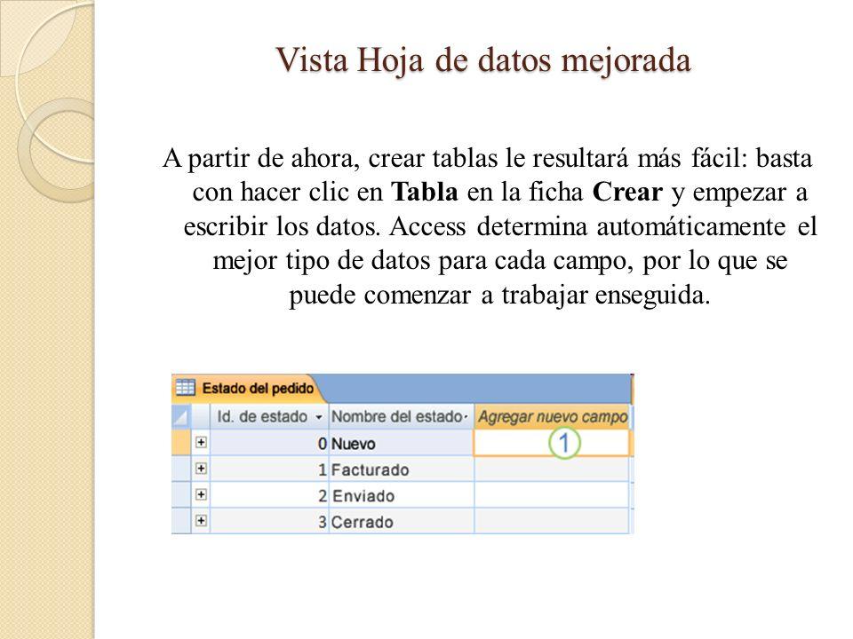 Vista Hoja de datos mejorada A partir de ahora, crear tablas le resultará más fácil: basta con hacer clic en Tabla en la ficha Crear y empezar a escri
