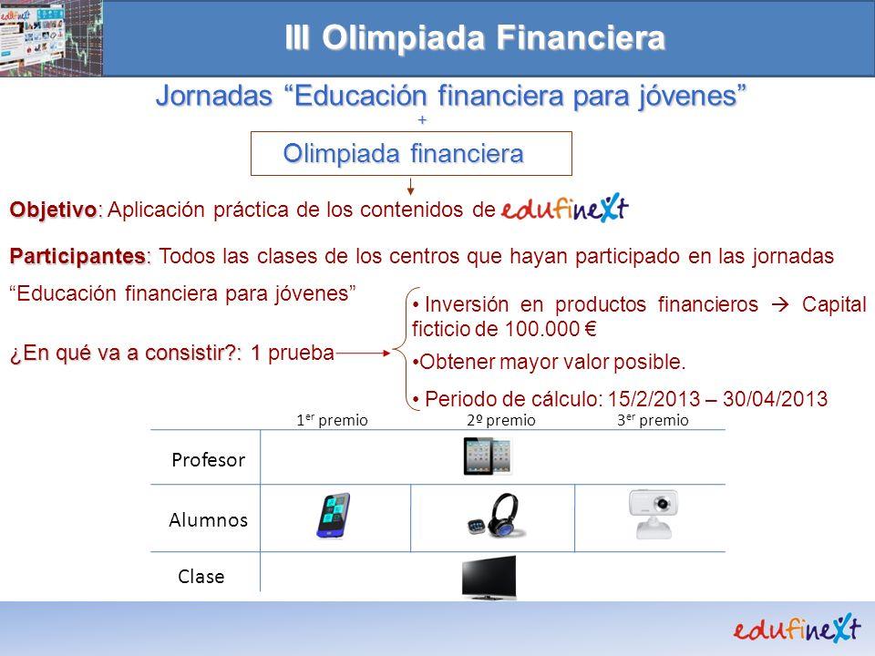 + Olimpiada financiera Objetivo: Objetivo: Aplicación práctica de los contenidos de Participantes: Participantes: Todos las clases de los centros que