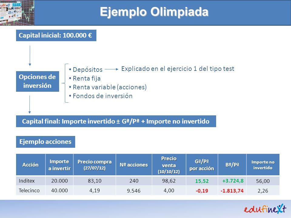 Ejemplo Olimpiada Capital inicial: 100.000 Depósitos Renta fija Renta variable (acciones) Fondos de inversión Opciones de inversión Capital final: Imp
