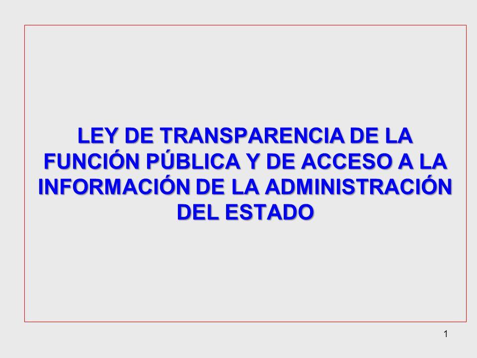 1 LEY DE TRANSPARENCIA DE LA FUNCIÓN PÚBLICA Y DE ACCESO A LA INFORMACIÓN DE LA ADMINISTRACIÓN DEL ESTADO