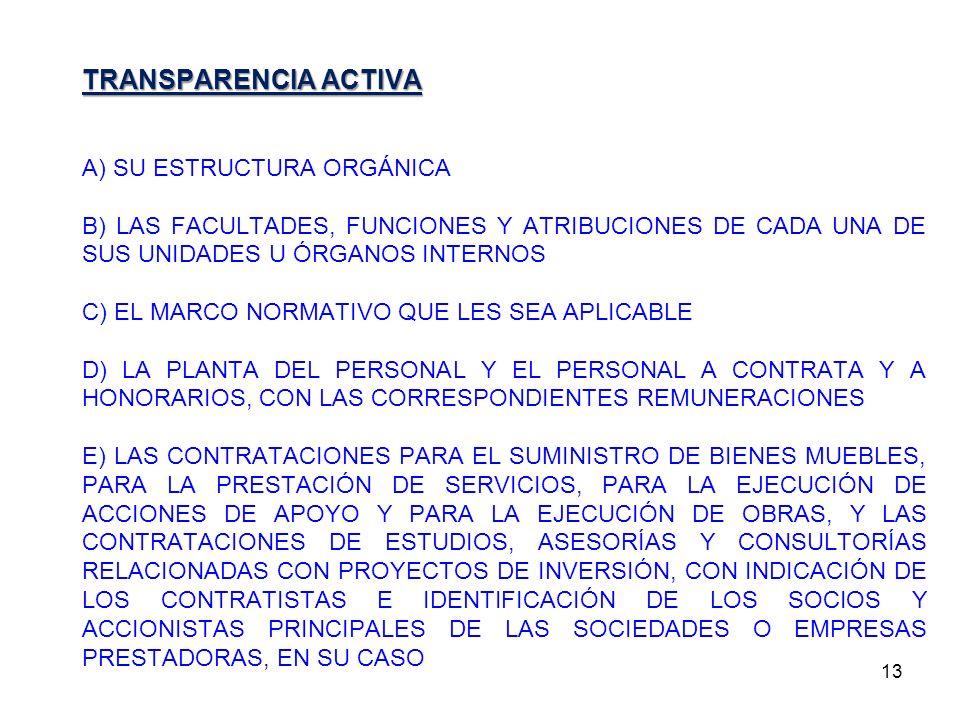 13 TRANSPARENCIA ACTIVA A) SU ESTRUCTURA ORGÁNICA B) LAS FACULTADES, FUNCIONES Y ATRIBUCIONES DE CADA UNA DE SUS UNIDADES U ÓRGANOS INTERNOS C) EL MAR