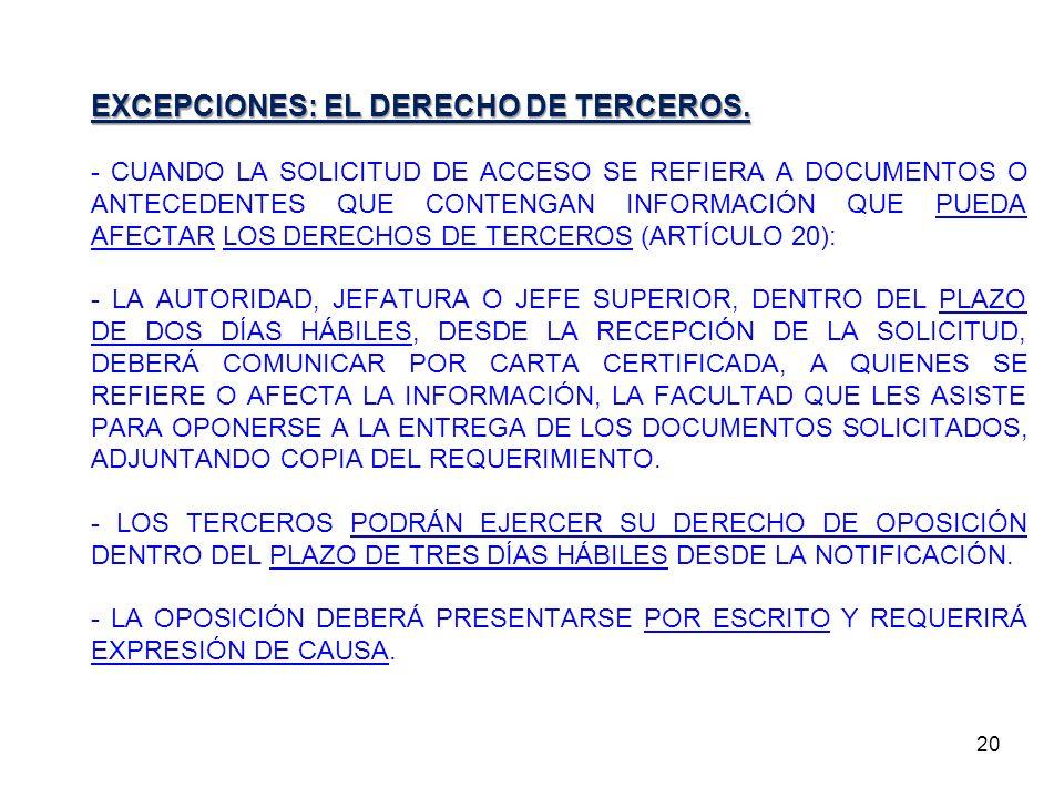 20 EXCEPCIONES: EL DERECHO DE TERCEROS. - CUANDO LA SOLICITUD DE ACCESO SE REFIERA A DOCUMENTOS O ANTECEDENTES QUE CONTENGAN INFORMACIÓN QUE PUEDA AFE