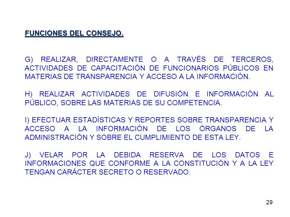 29 FUNCIONES DEL CONSEJO. G) REALIZAR, DIRECTAMENTE O A TRAVÉS DE TERCEROS, ACTIVIDADES DE CAPACITACIÓN DE FUNCIONARIOS PÚBLICOS EN MATERIAS DE TRANSP