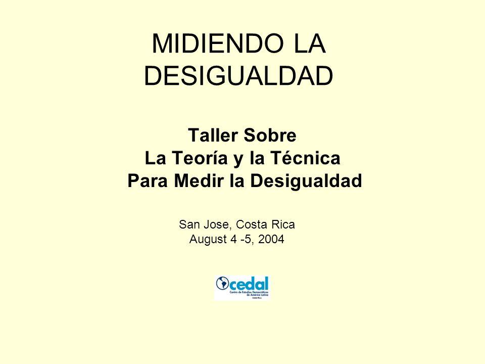 MIDIENDO LA DESIGUALDAD Taller Sobre La Teoría y la Técnica Para Medir la Desigualdad San Jose, Costa Rica August 4 -5, 2004