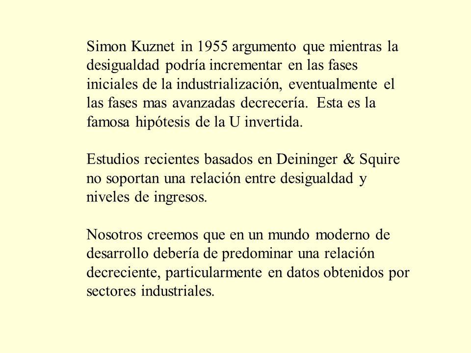 Simon Kuznet in 1955 argumento que mientras la desigualdad podría incrementar en las fases iniciales de la industrialización, eventualmente el las fases mas avanzadas decrecería.