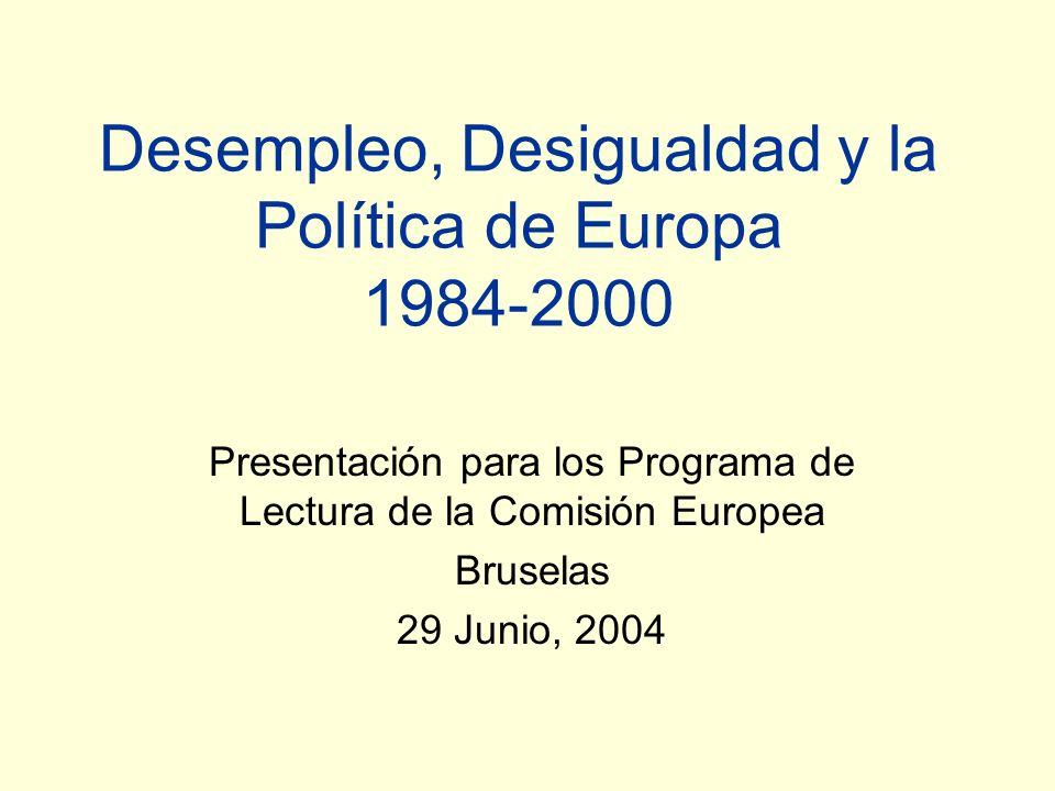 Desempleo, Desigualdad y la Política de Europa 1984-2000 Presentación para los Programa de Lectura de la Comisión Europea Bruselas 29 Junio, 2004