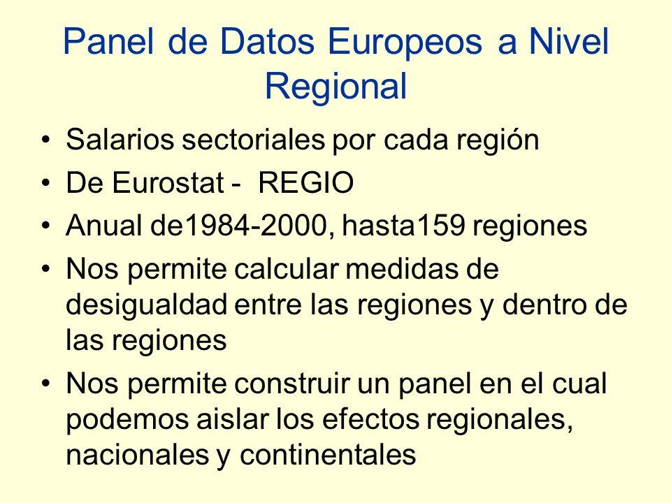 Panel de Datos Europeos a Nivel Regional Salarios sectoriales por cada región De Eurostat - REGIO Anual de1984-2000, hasta159 regiones Nos permite calcular medidas de desigualdad entre las regiones y dentro de las regiones Nos permite construir un panel en el cual podemos aislar los efectos regionales, nacionales y continentales