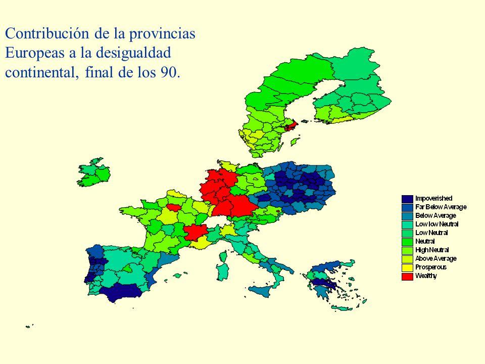 Contribución de la provincias Europeas a la desigualdad continental, final de los 90.