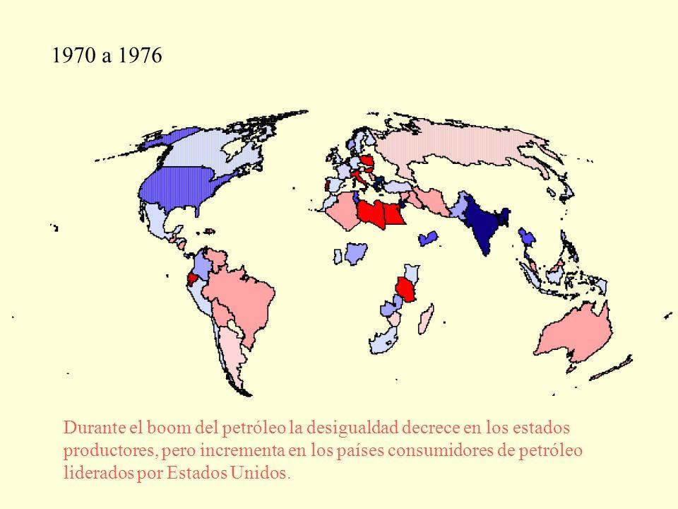 1970 a 1976 Durante el boom del petróleo la desigualdad decrece en los estados productores, pero incrementa en los países consumidores de petróleo liderados por Estados Unidos.