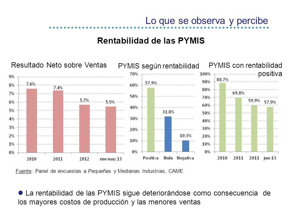 Lo que se observa y percibe Rentabilidad de las PYMIS Fuente: Panel de encuestas a Pequeñas y Medianas Industrias, CAME Resultado Neto sobre Ventas PYMIS con rentabilidad positiva La rentabilidad de las PYMIS sigue deteriorándose como consecuencia de los mayores costos de producción y las menores ventas PYMIS según rentabilidad