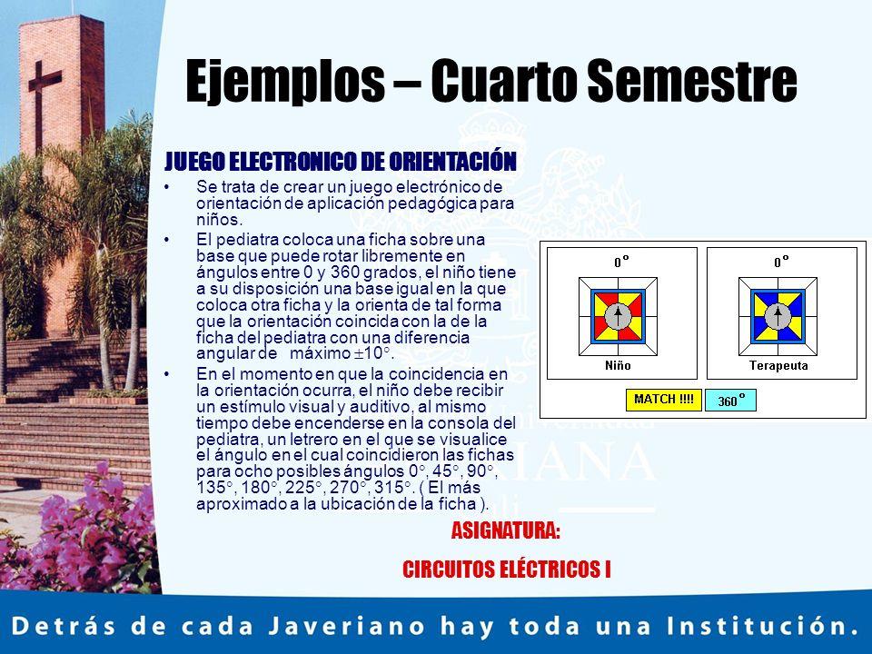 Ejemplos – Cuarto Semestre JUEGO ELECTRONICO DE ORIENTACIÓN Se trata de crear un juego electrónico de orientación de aplicación pedagógica para niños.