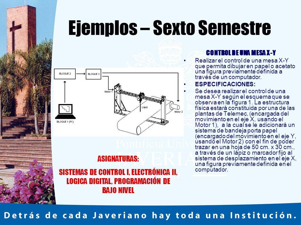 Ejemplos – Sexto Semestre CONTROL DE UNA MESA X-Y Realizar el control de una mesa X-Y que permita dibujar en papel o acetato una figura previamente definida a través de un computador.