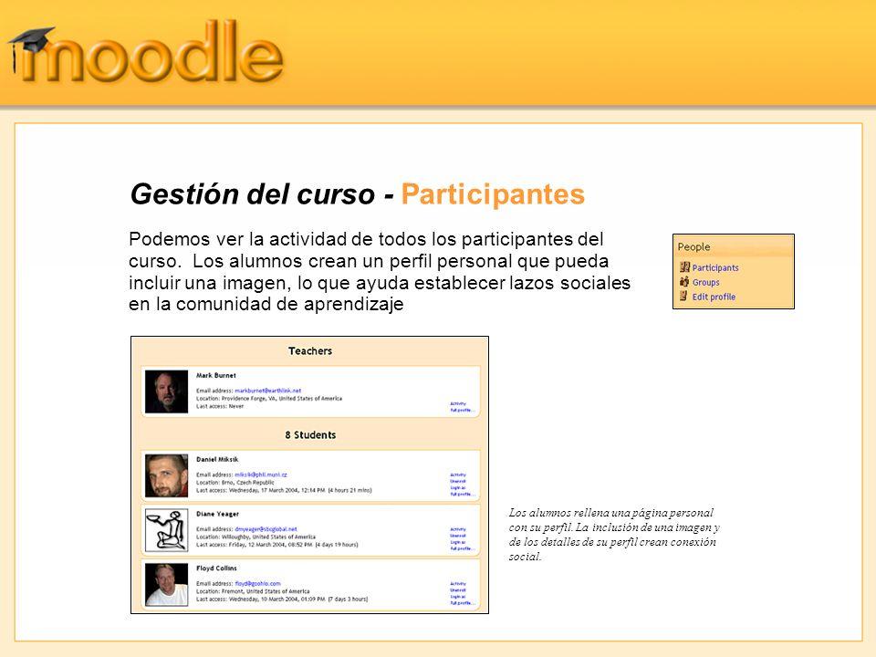 Gestión del curso - Participantes Podemos ver la actividad de todos los participantes del curso.